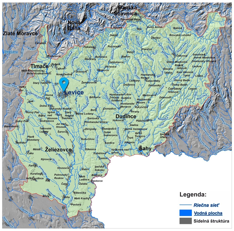 mapa správy povodia dolného Hrona a dolného Ipľa Levice