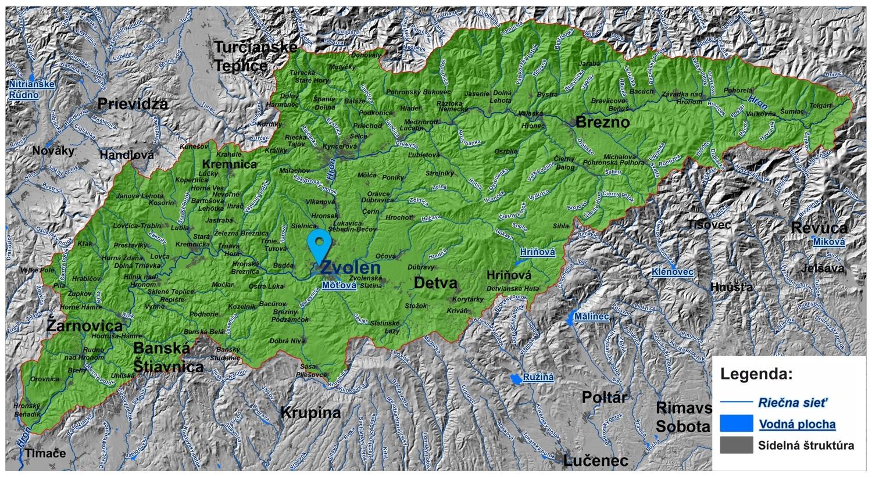 mapa správy povodia Stredného Hrona Zvolen