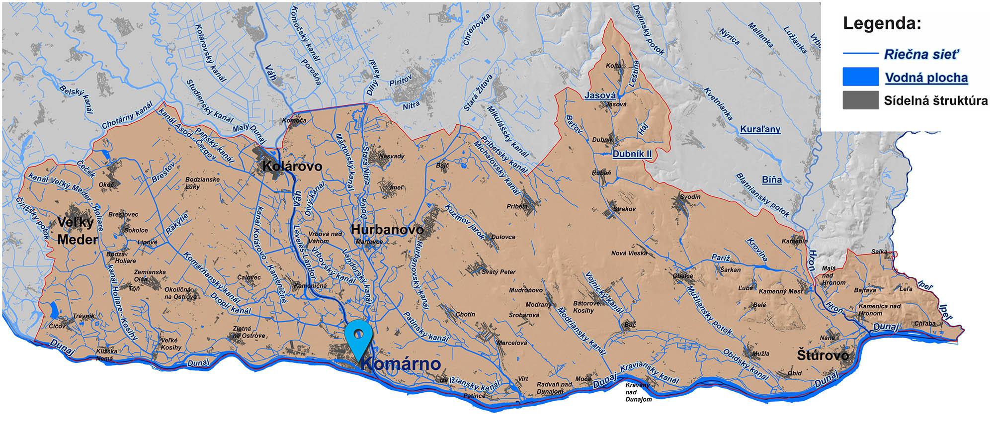 mapa správy povodia vnútorných vôd Komárno