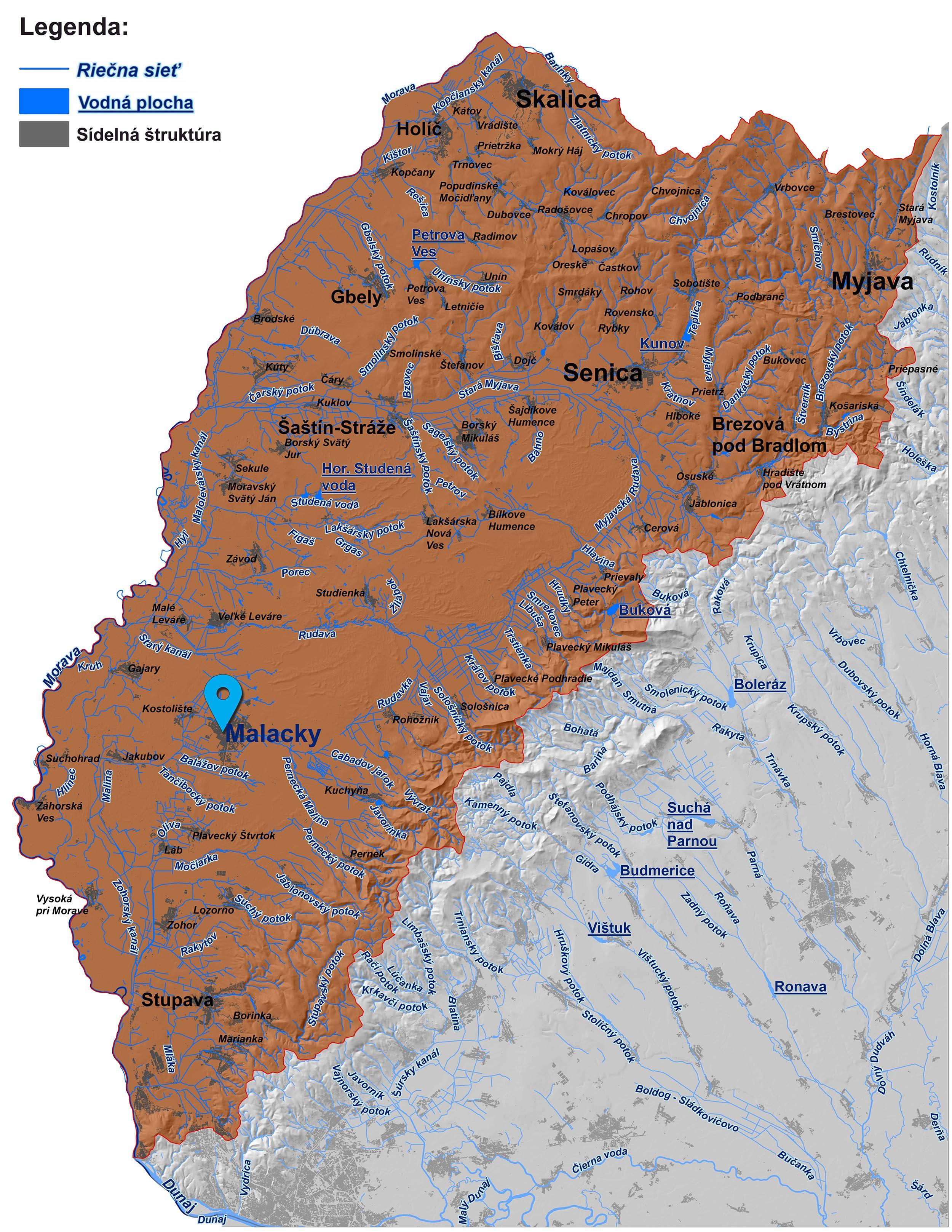 mapa správy povodia Moravy Malacky