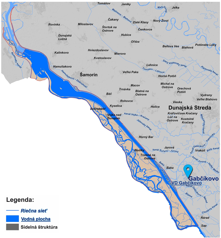 mapa závodu Vodného diela Gabčíkovo