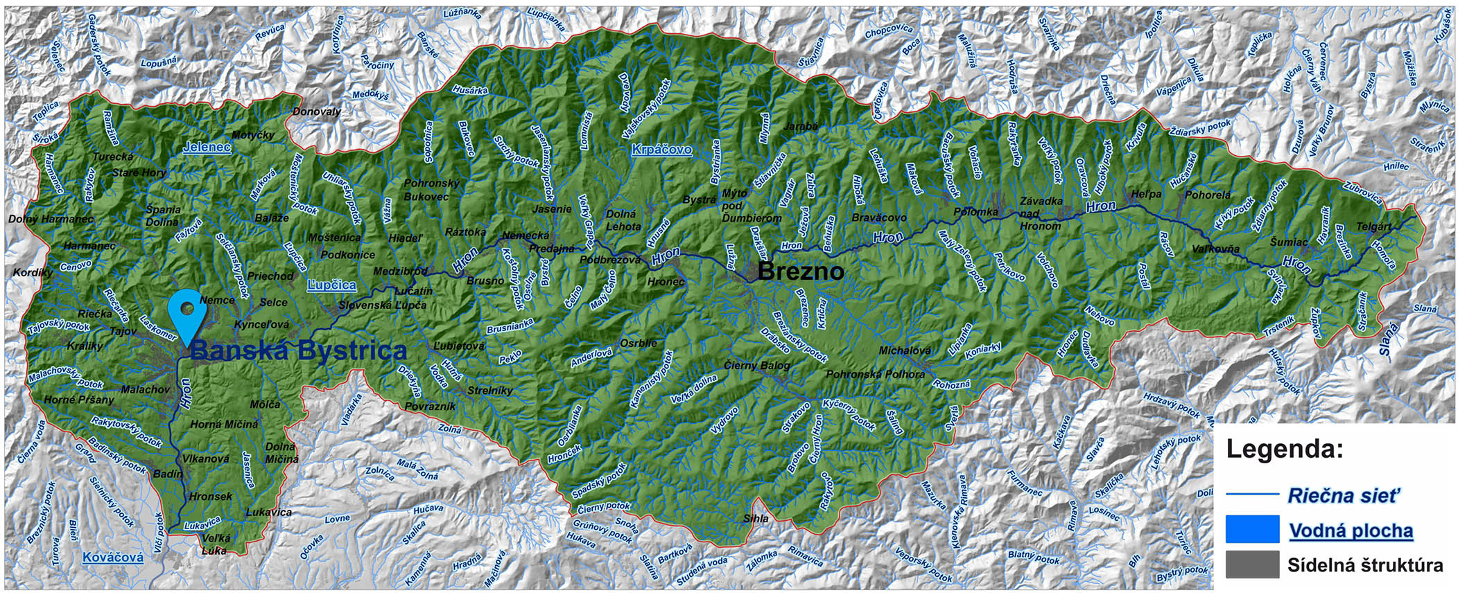 mapa správy povodia horného Hrona Banská Bystrica