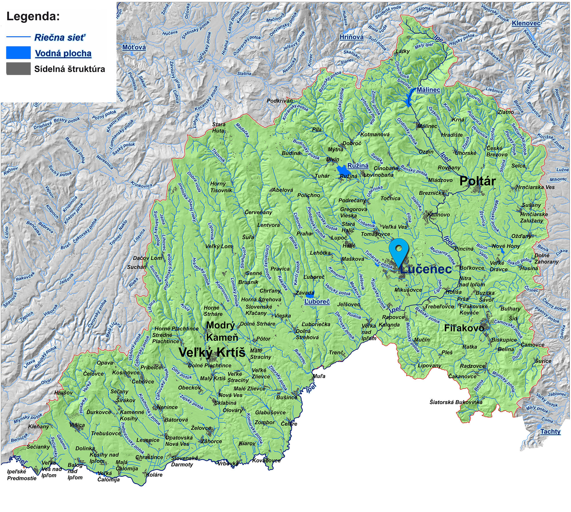 mapa správy povodia horného Ipľa Lučenec