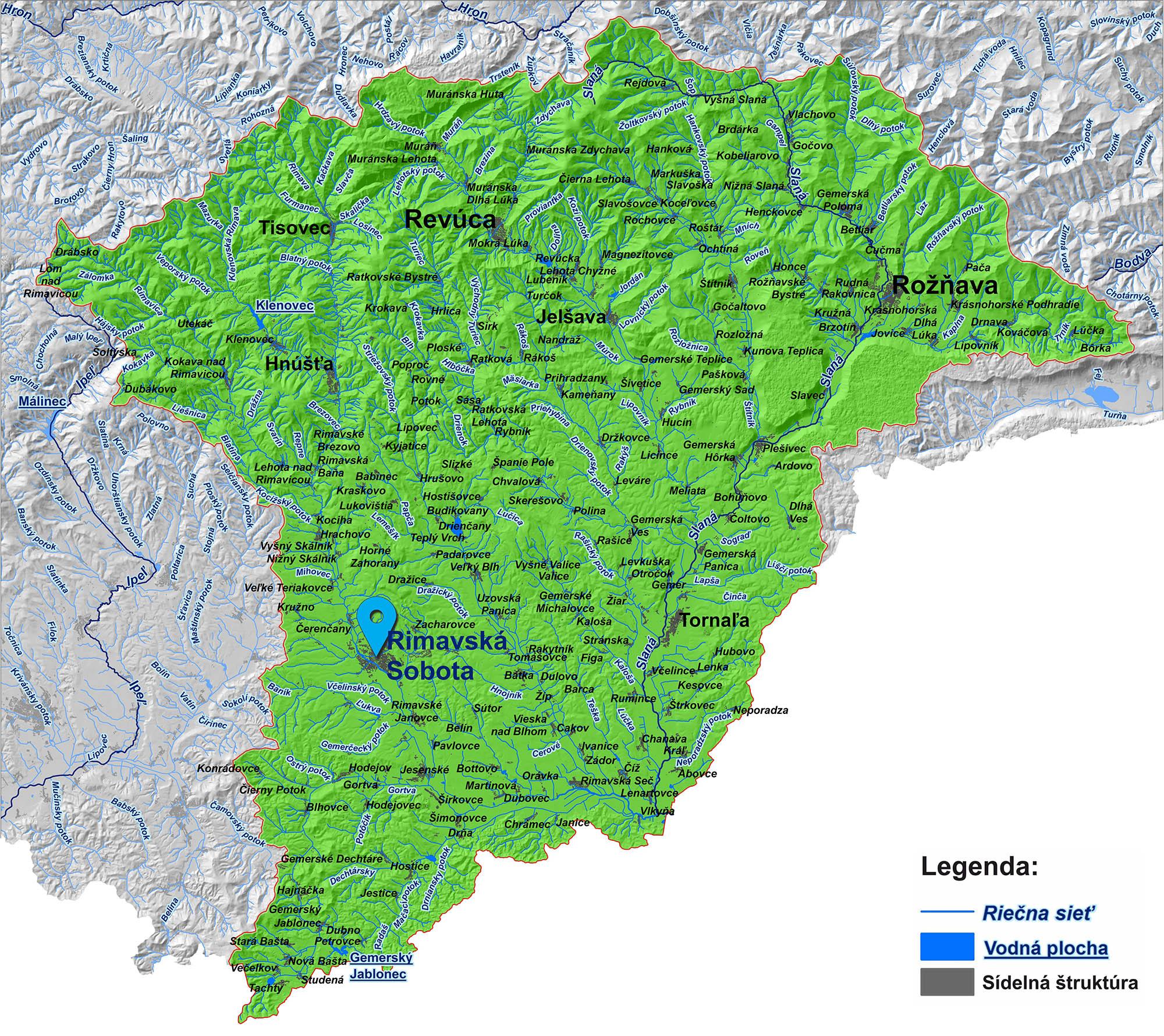 mapa správy povodia Slanej Rimavská Sobota