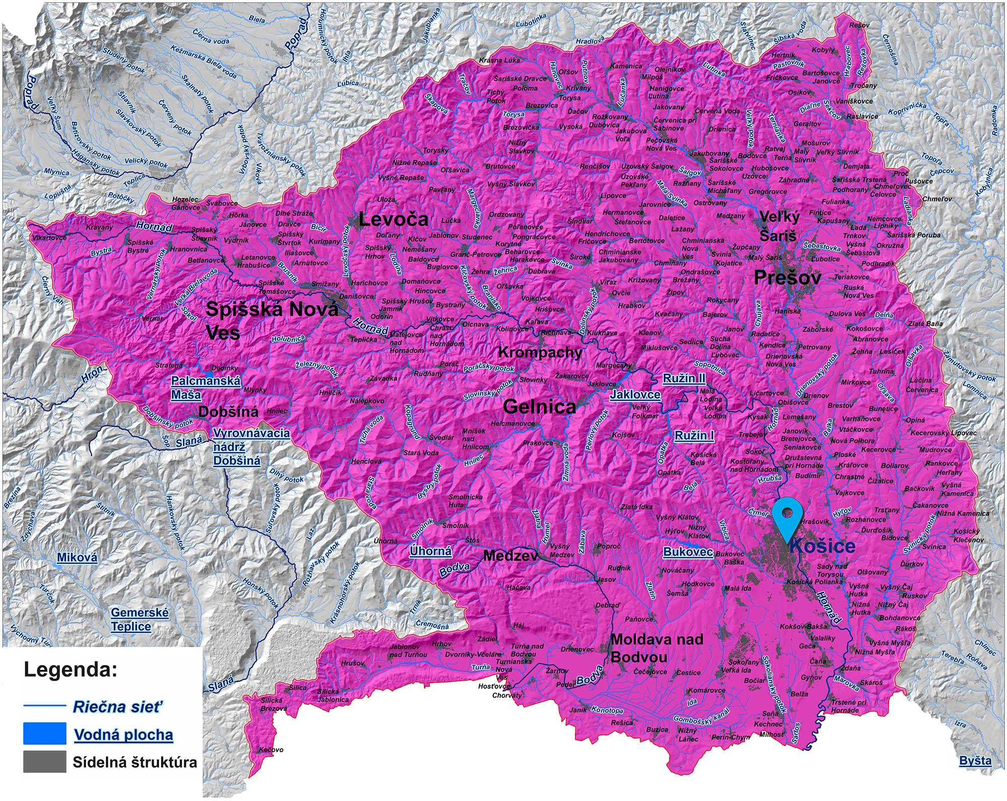 mapa správy povodia Hornádu a Bodvy Košice