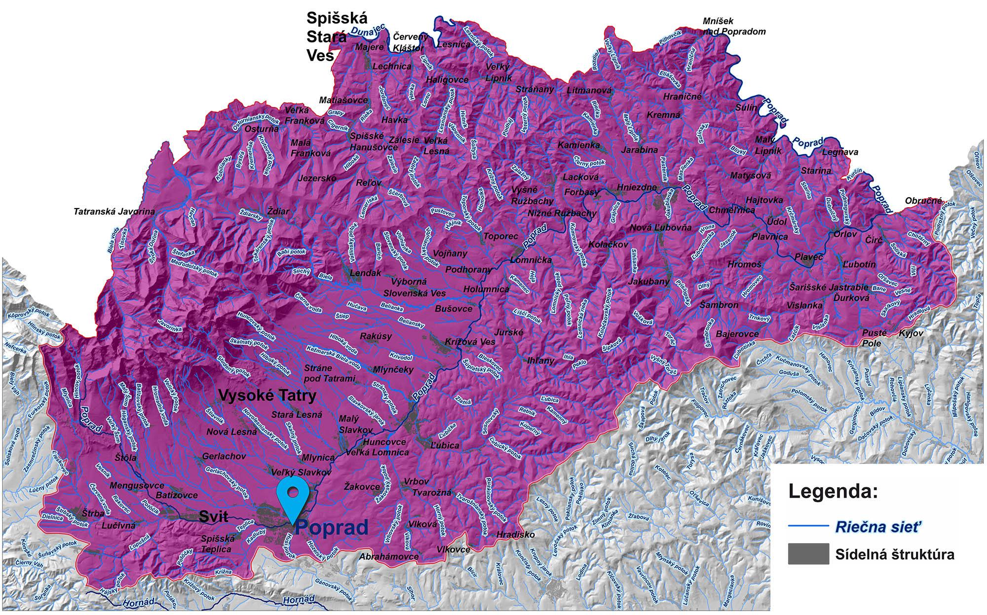 mapa správy povodia Dunajca a Popradu Poprad
