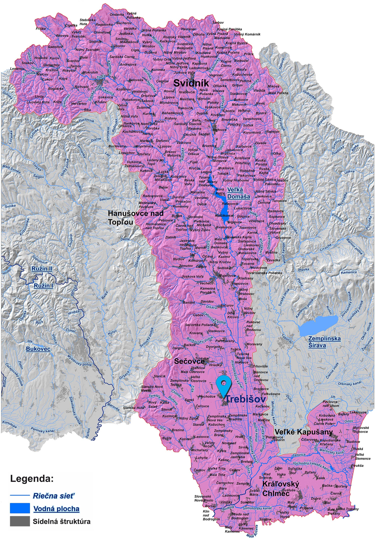 mapa správy povodia Bodrogu Trebišov
