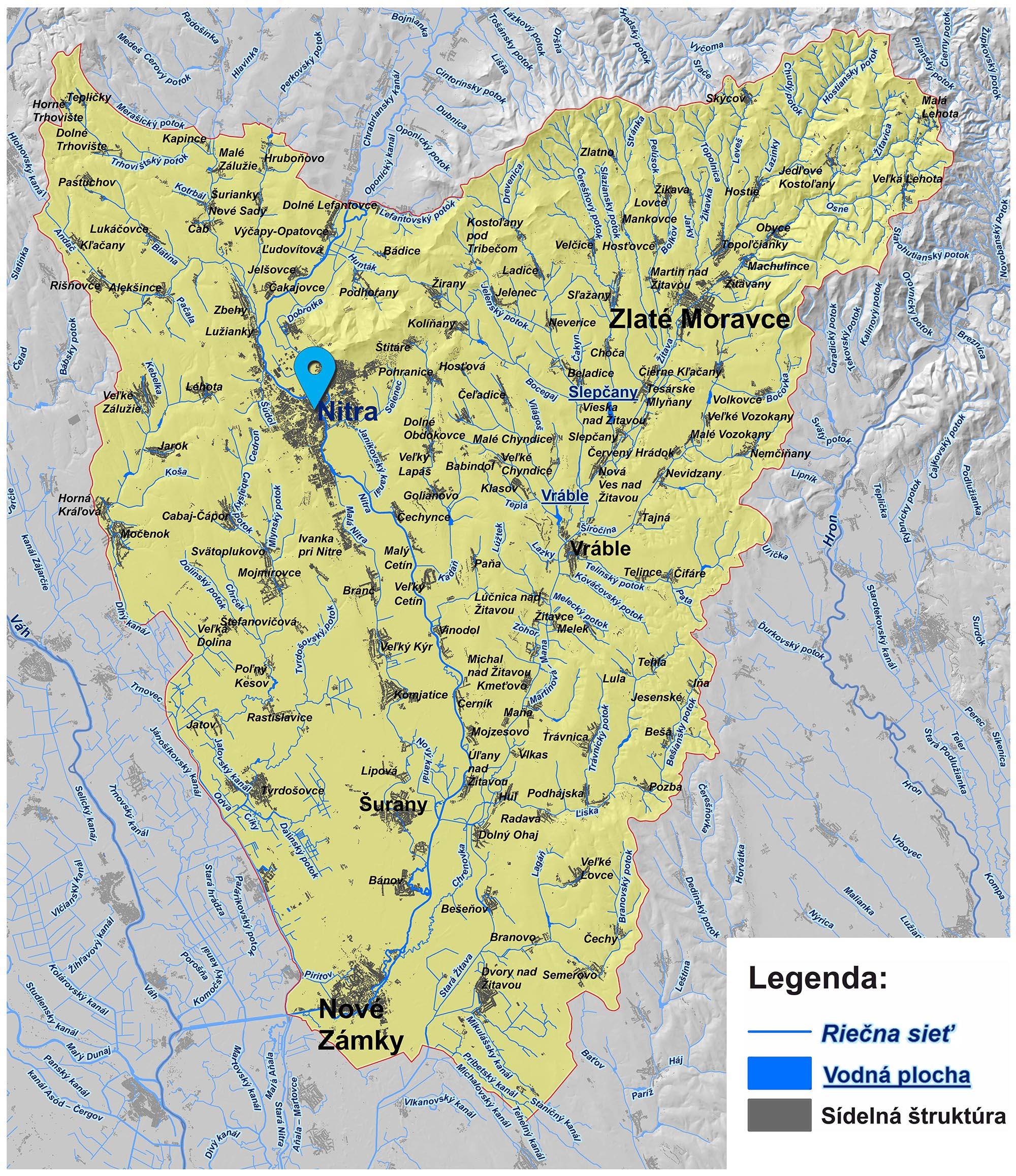 mapa správy povodia dolnej Nitry Nitra
