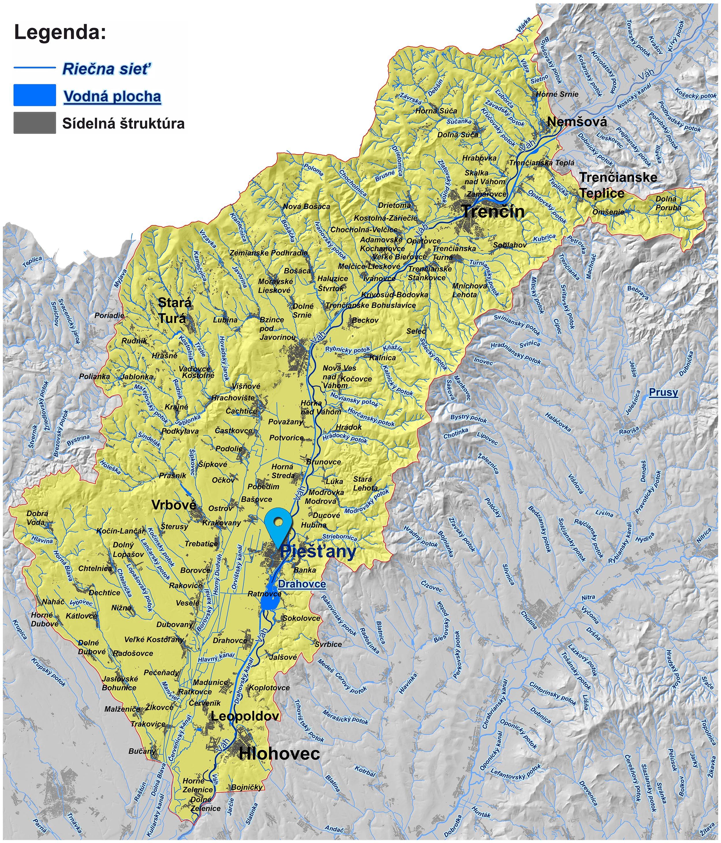 mapa správy povodia stredného Váhu II. Piešťany
