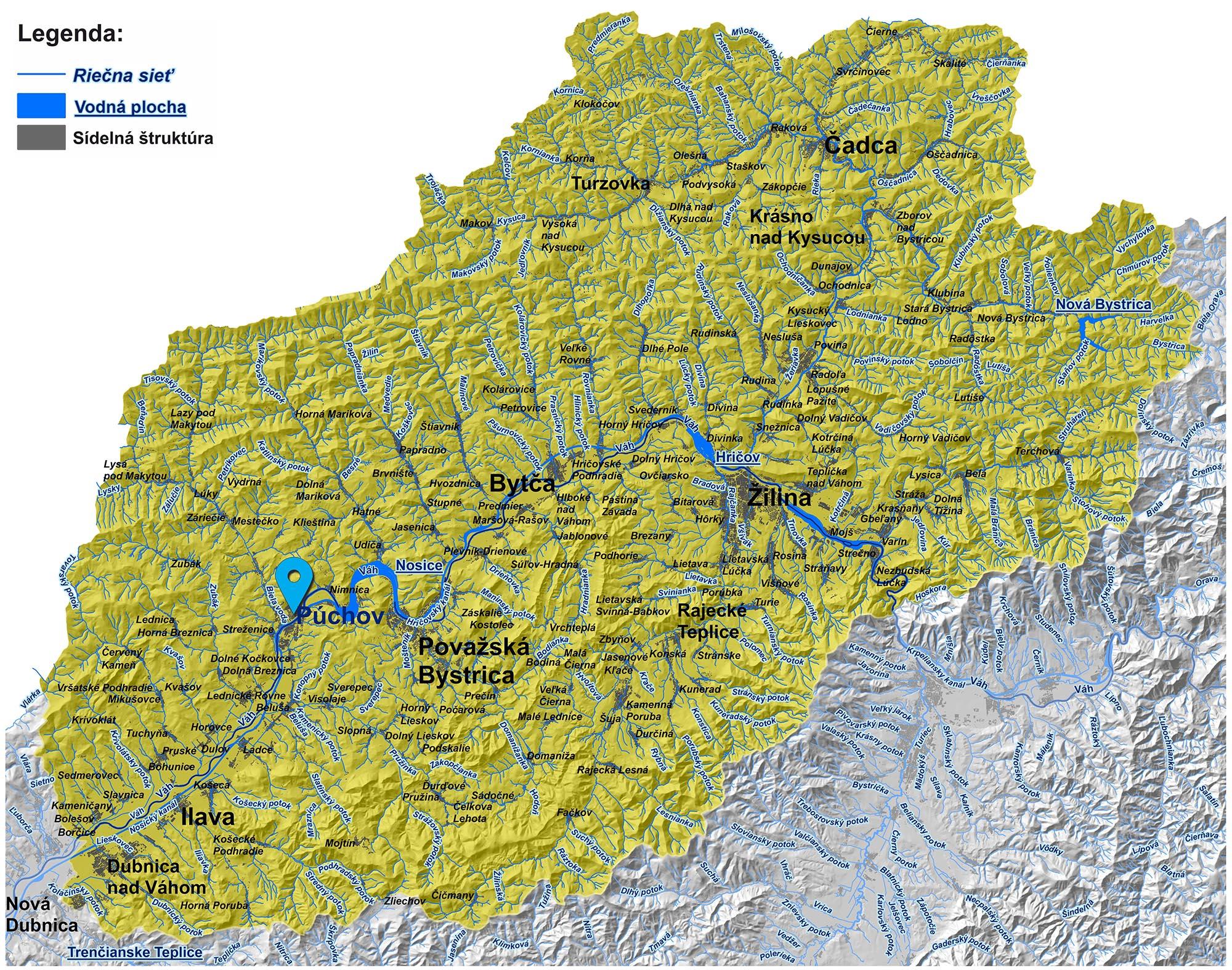 mapa správy povodia stredného Váhu I. Púchov