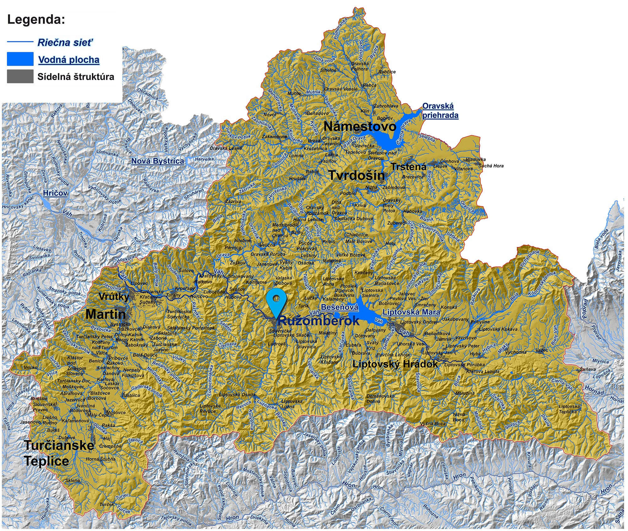 mapa správy povodia horného Váhu Ružomberok