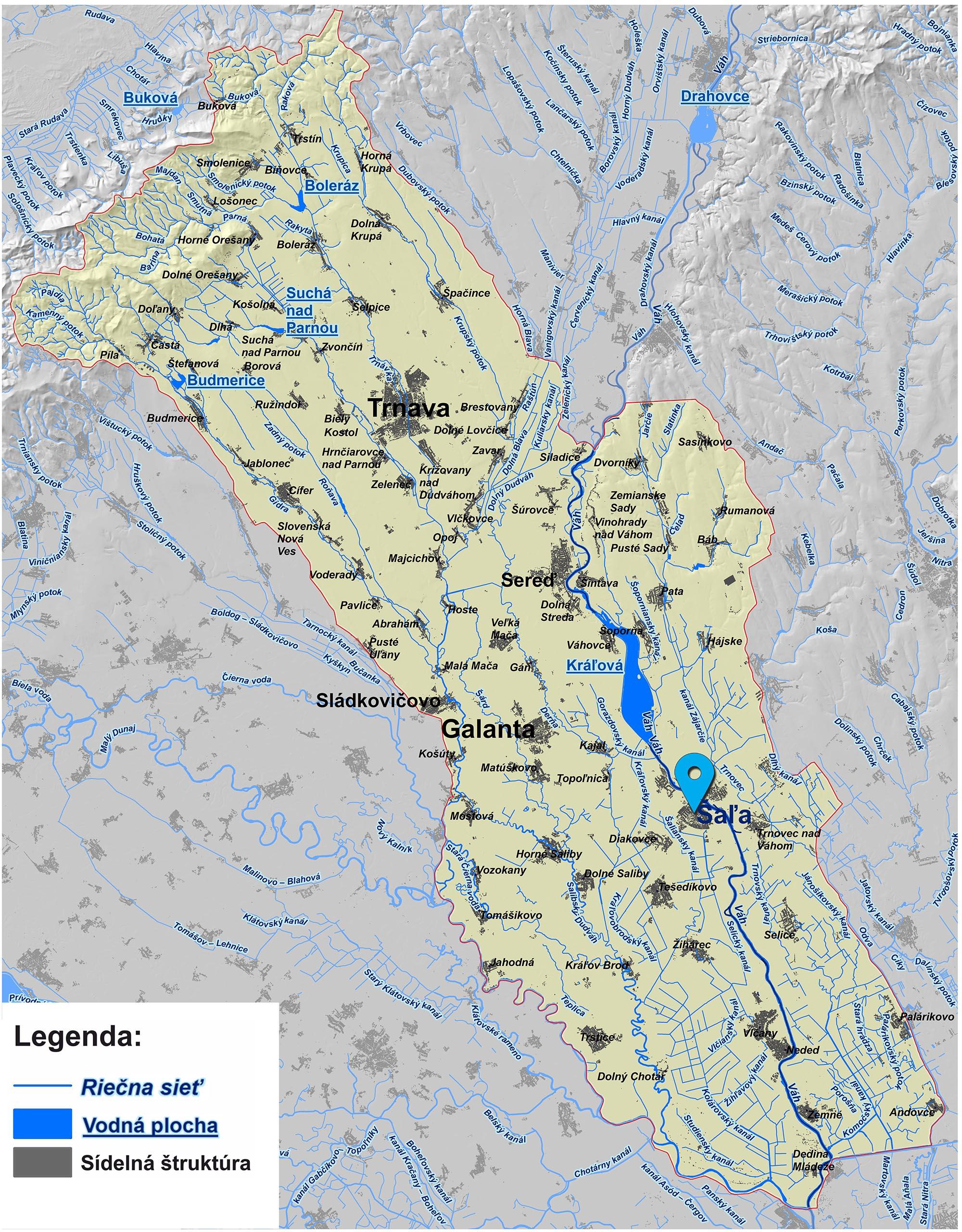 mapa správy povodia dolného Váhu Šaľa