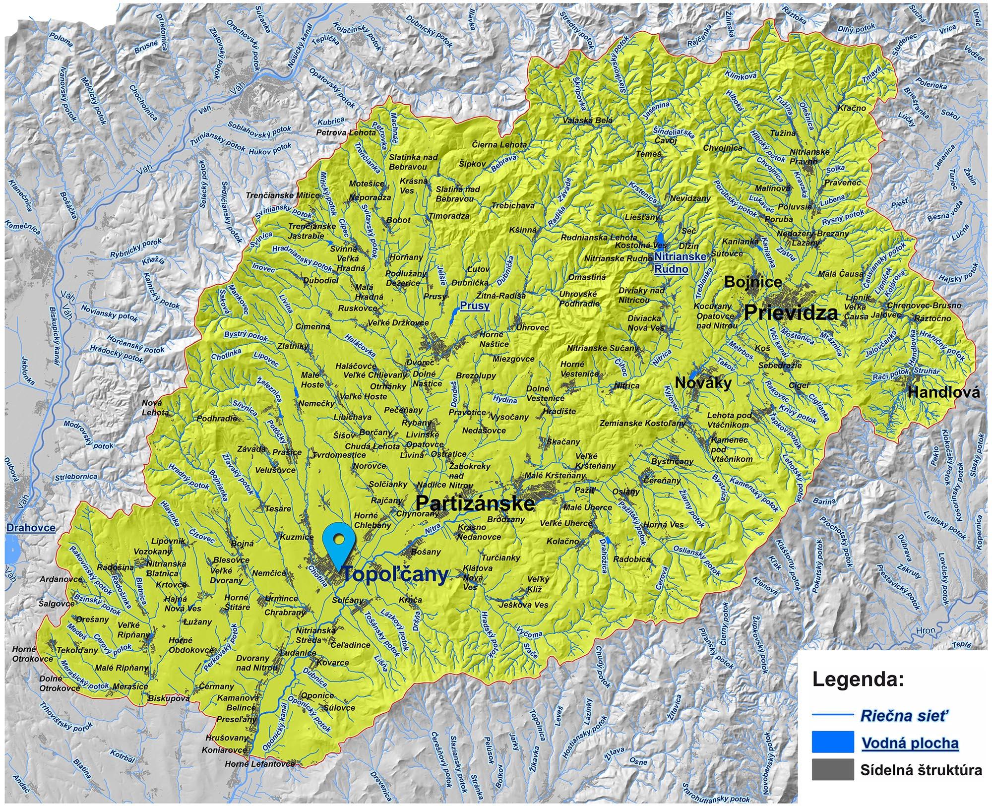 mapa správy povodia hornej Nitry Topoľčany