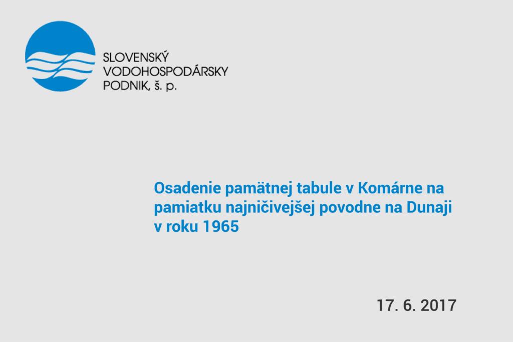 pozvánka na osadenie pamätnej tabule v komárne na pamiatku povodne na Dunaji